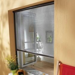 Moustiquaire enroulable verticale Fenêtre ALU h160 cm x l125 cm ajustable coloris marron